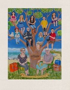 Family tree painting commissioned as a fun, unique gift for an Australian couple's 50th wedding anniversary. The painting created from the photos of their family members and features the couple's children and grandchildren.
