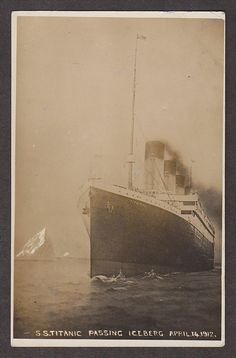 """SS Titanic Passing Iceberg"", 1912 - wow, who took this picture?"
