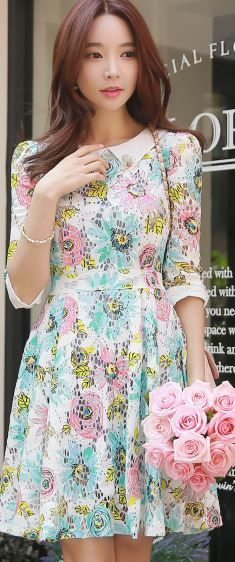 StyleOnMe_Girly Rose Half Sleeve Flare Dress #floral #spring #girly #cute…