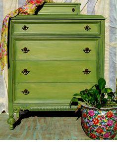 VINTAGE DRESSER PAINTED - Avocado Lime Green Distressed. $450.00, via Etsy.
