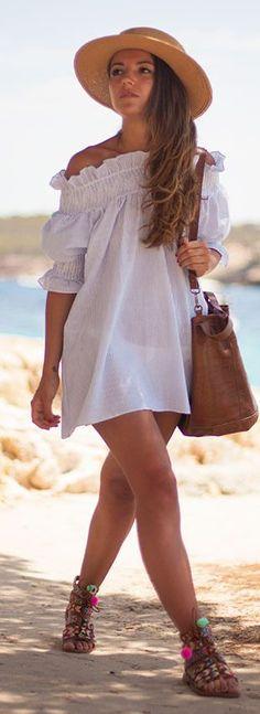 White Off Shoulder Little Dress by Lovely Pepa