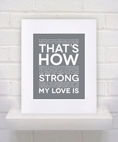 "Otis Redding Lyrics  ""That's How Strong My Love Is""  11x14  poster print by KeepItFancy on Etsy, $10.00"