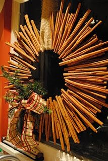 Yummy-smelling cinnamon wreath to hang on your door. #Christmas #craft