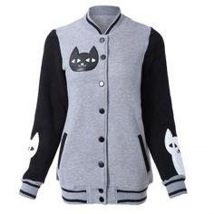 Elegante collar del soporte Gatito Imprimir un solo pecho de la chaqueta de las mujeres de manga larga para Vender - La Tienda En Online IGOGO.ES