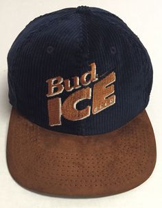 Vtg Bud Ice Beer Strapback Hat Made In The USA Corduroy Alcohol Budweiser   BaseballCap Ice e9067b87d0d9