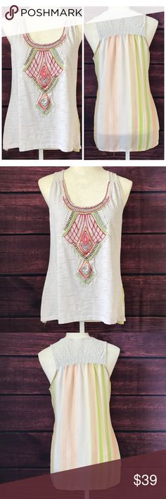 "Anthropologie One September Undergrowth Tank M O1 Bust: 19""   (Armpit to Armpit) Length: 24""-27""  Condition: No Rips; No Stains  65% Polyester 35% Cotton   📦Orders are shipped within 24hrs! {Except weekends}📦  🚫No Trades🚫No Holds🚫 Anthropologie Tops Tank Tops"