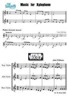 Orff arrangement for Smurfs and Star Wars!