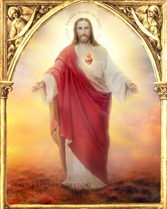 Sacred Heart of Jesus Catholic Art Religious por ThreeArchangels