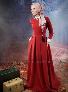 Robe rubis étoiles - Rouge - Muslima Porter