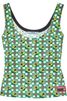 Prada - Printed Cloqué Top - Green - IT38