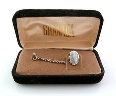 Vintage 1980s 90s GRANADA Etched Silvertone Tie Tac Lapel PIN in Orig Box #Granada