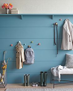 #Mudroom with shelf and hooks and pop of colour