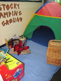 Indoor camping- fireplace, fishing, and a tent. Camping Dramatic Play, Dramatic Play Area, Dramatic Play Centers, Camping Theme, Family Camping, Camping Tips, Family Day Care, Toddler School, Play Based Learning
