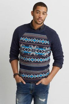 AEO Pattern Crew Sweater  by AEO | Timeless and versatile, ready for the road less traveled. Shop the AEO Pattern Crew Sweater  and check out more at AE.com.