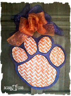 Sassy Clemson Auburn Burlap Tiger Paw by SassyFrassOriginals Clemson Tigers, Clemson Tiger Paw, Clemson Football, Auburn Tigers, Football Stadiums, Football Season, Fight Tiger, Orange And Purple, Yellow