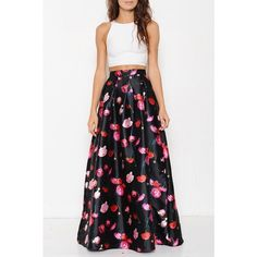 "X ""Rose Aylmer"" A-line Fit And Flare Maxi Skirt Black a-line, fit & flare maxi skirt with red and pink rose print. Back zipper closure. Pair with a simple crop top and you are Saturday night ready! Brand new. Junior sizing. PRICE FIRM. NO TRADES. Bare Anthology Skirts Maxi"