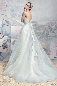 papilio 2016 bridal strapless sweetheart neckline wrap over bodice tulle skirt princess blue color a line wedding dress chapel train (1648l naroch) bv