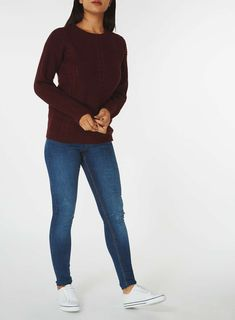 Womens Berry Cable Knit Front Jumper- Red