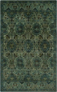 Gorgeous greens and blues set the mood for your space with this rug from the Mykonos Collection by Surya. (MYK-5000) #laylagrayce #suryarugs