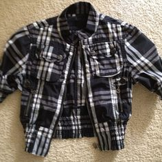 Plaid fitted jacket Cute plaid black and white jacket. Dress it up or down. Never worn but without tags. Jackets & Coats