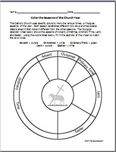 liturgical calendar coloring page | Coloring fun can help teach about the liturgical calendar.