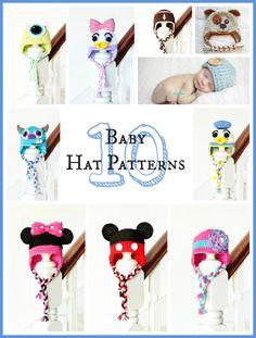 10 Free Adorable Baby Hat Crochet Patterns via Hopeful Honey. Mickey, Minnie, Donald, Daisy, Mike, and Sully