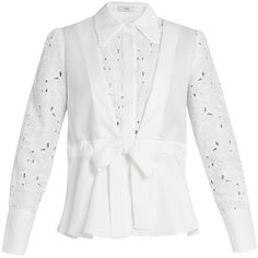 Erdem Janie broderie-anglaise panelled cotton shirt featuring polyvore women's fashion clothing tops white white cotton tops erdem white tops panel shirts woven cotton shirt