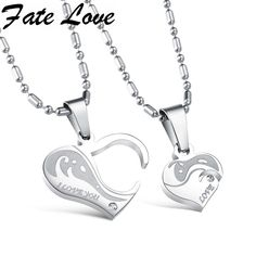 >> Click to Buy << Romantic Charm 316L Stainless Steel Heart Pendant Chain Necklaces Couple Necklaces Gift Jewelry for  Lovers top quality 922 #Affiliate
