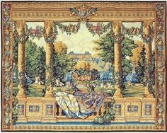 "^click photo to enlarge^  Charles Le Brun commissioned 12 wonderful tapestries from La Manufacture des Gobelins which depicted the various Royal Houses belonging to King Louis XIV. They can now be seen in the Museum of Pau.   Jacquard woven in Belgium Backed with lining Rod tunnel for easy hanging Cotton, Treveria and Wool Blend Available in 1 size W 36"" x  H 27"""