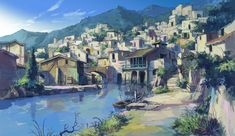 Art Studio Atelier BWCA Closes Due to Director's Health Studio worked on Grimgar, Lodoss, Totoro, Terror in Resonance, more The official website of art and background studio Atelier BWCA announce. Anime City, 5 Anime, Fantasy Places, Fantasy World, Anime Fantasy, Fantasy Art, Grimgar, Comics Anime, Fantasy Village