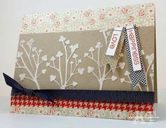 This card using our Casual Trees Fri-Dies makes me feel warm and cozy.  The warm colors and jeans-like ribbon make me feel like I'm walking down a country road of blooming trees.  www.cas-ualfridaysstamps.com  #casualtrees #trees #fri-dies