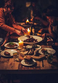 Rustic, connected candlelight dinner