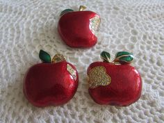 Vintage Apple Brooches/Vintage Fruit Brooches/Vintage Brooches/Vintage Pins/Vintage Costume Jewelry - FREE SHIPPING U.S.A.!!! by OwlMansionJewels on Etsy