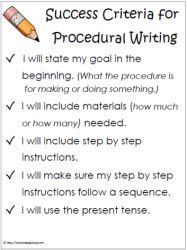 Success Criteria Procedural Writing. I would just add criteria about including an evaluation at the end.