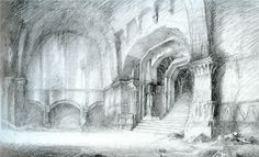 Sketch of the Moria Entrance Chamber by Alan Lee, conceptual artist for the Lord of the Rings movies