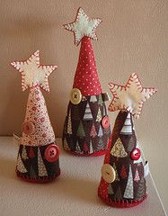 cute fabric and felt trees
