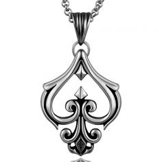 Hollow Spade Emlem Stainless Steel Necklace. * Jewelry of finest quality: made from stainless steel-which guarantees high strength and hardness; stainless steel will never fade, highly resistant to rust and corrosion,lasting color retention,will last you a lifetime.Perfect Gift for Fathers' Day, Graduation, Bachelor Party, Wedding, Anniversary. Pendant * Dimensions: 4.8X2.6CM,N:45CM * Weight (grams): 14