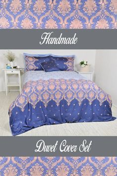 Made of soft 100% cotton, high quality sateen fabric, 250 Thread Count Turkish Cotton  This 2 pcs set includes navy blue, baby blue, pinkish beige, ombre effect, damask print duvet cover, 1 navy blue damask pattern pillowcase.  *Duvet cover Single 63 W x 88 L (160x220cm) Twin 68 W x 88 L (170x220cm) Damask Bedroom, Damask Bedding, Boho Bedding, Linen Bedding, Master Bedroom, Navy Duvet, Ruffle Duvet, Full Duvet Cover, Duvet Cover Sets