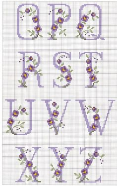 Cross-stitch Alphabet with Flowers, part no color chart, just use pattern chart as your guide Gallery. Cross Stitch Letters, Cross Stitch Love, Cross Stitch Needles, Cross Stitch Charts, Cross Stitch Designs, Embroidery Alphabet, Ribbon Embroidery, Cross Stitch Embroidery, Embroidery Patterns