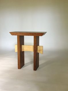 Walnut And Maple Statement End Table: Narrow Small Table/ Wood Accent Table   Handmade