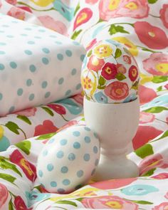 Easter Egg Ideas: Poppy prints and pastel polka dots from our new Martha Stewart Whim Collection inspired these decoupaged Easter eggs. They look spring ready!