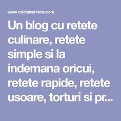 Un blog cu retete culinare, retete simple si la indemana oricui, retete rapide, retete usoare, torturi si prajituri