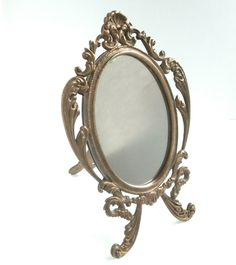Ornate Mirror - Vintage - Small Mirror - Frame Stand - Table Top Mirror - Solid Brass by ReTainReMakeReNew on Etsy