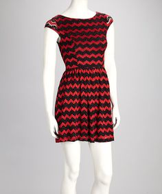 Take a look at this Red & Black Zigzag Dress by Buy in America on #zulily today!