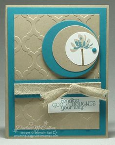 handmade card ... Too Kind Circle Card in Island Indigo and Crumb Cake ... like the asymmetrical placedment of the layered concentric circles down to the candy dot ... Stampin' Up!