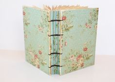Aqua Floral Coptic Bound Journal by Thenibandquill on Etsy, $32.00