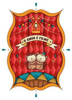 """Ilustração desenvolvida por encomenda sobre o filme """"Lisbela e o Prisioneiro"""" e a música """"Amor é Filme""""."""