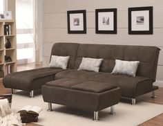 Transitional Styled Sectional Sofa Sleeper in Brown Microfiber