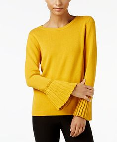 NY Collection Crew-Neck Pleated-Cuff Sweater - Sweaters - Women - Macy's
