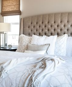 Master Bedroom Gray Walls master bedroom | calming master bedroom | linen bed |gray walls